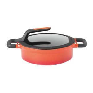 GEM Stay Cool 3.5 qt. Cast Aluminum Nonstick Saute Pan in Orange with Glass Lid and Dual Handles