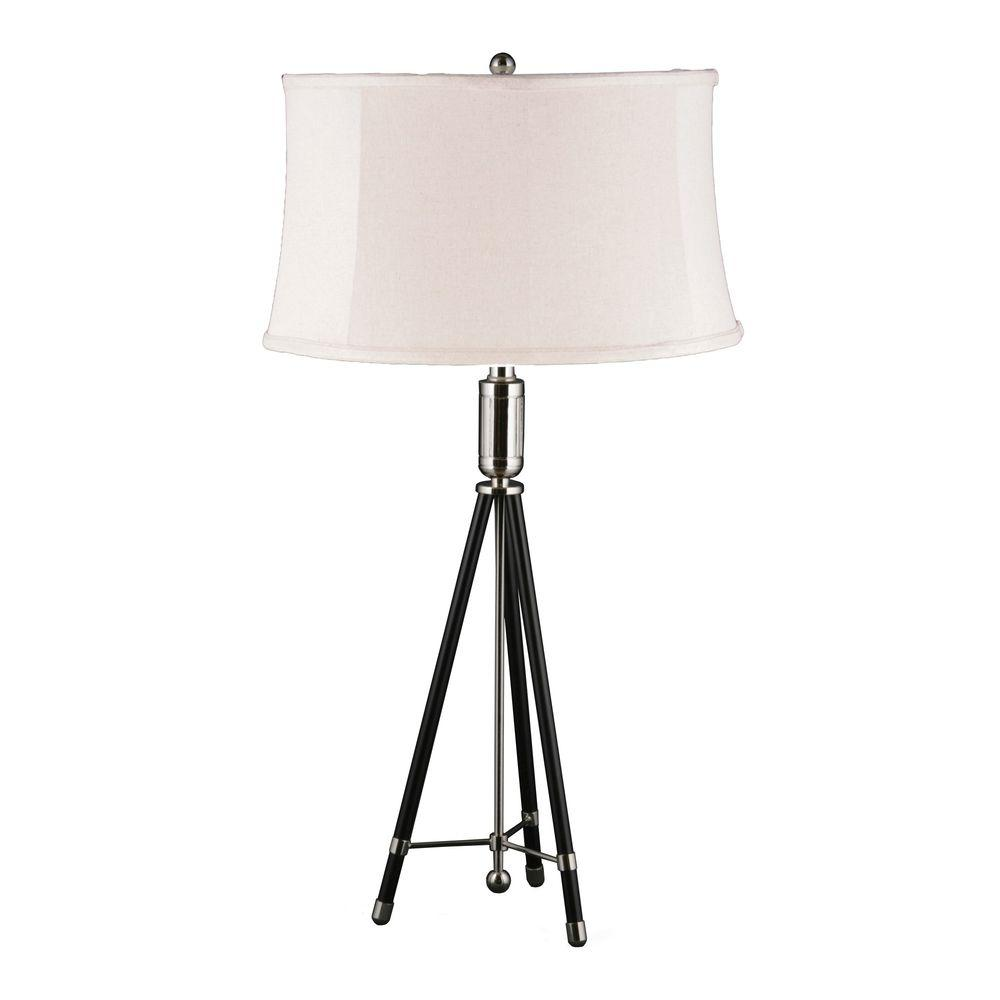 31 in. Polished Nickel and Black Tripod Metal Table Lamp