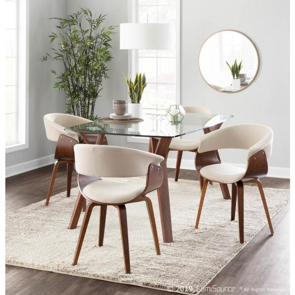 Walnut And Cream Dining Accent Chair
