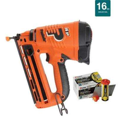 16-Gauge Angled Cordless Lithium-ion Finish Nailer Combo with Free Fuel + Nail Pack