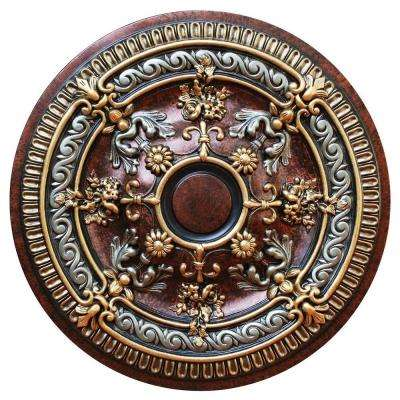 26-1/4 in. Blooming Fantasy, Gold, Copper and Ivy, Polyurethane Hand Painted Ceiling Medallion