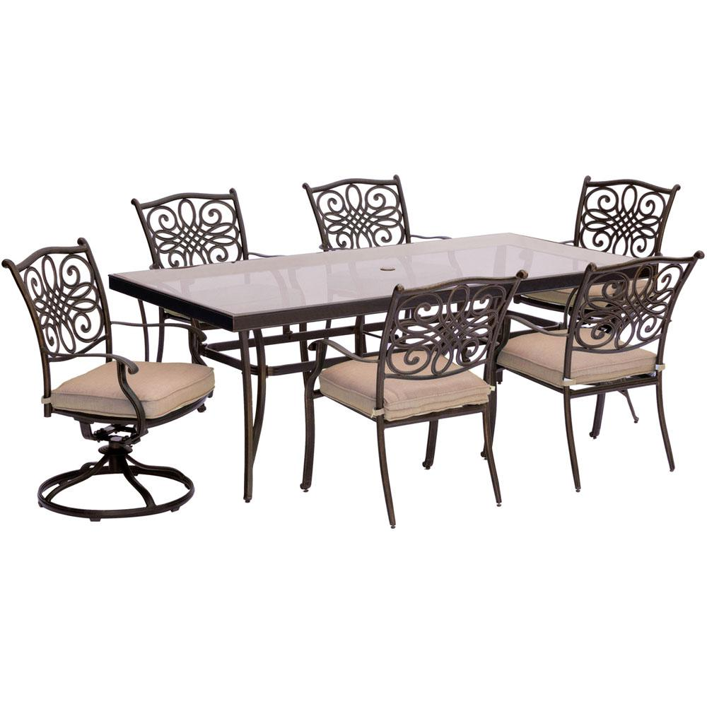 Hanover 7-Piece Aluminum Outdoor Dining Set with Rectangular Glass Table and 2 Swivel Chairs with Natural Oat Cushions