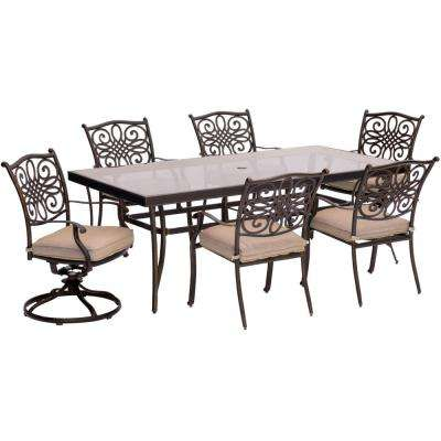 7-Piece Aluminum Outdoor Dining Set with Rectangular Glass Table and 2 Swivel Chairs with Natural Oat Cushions