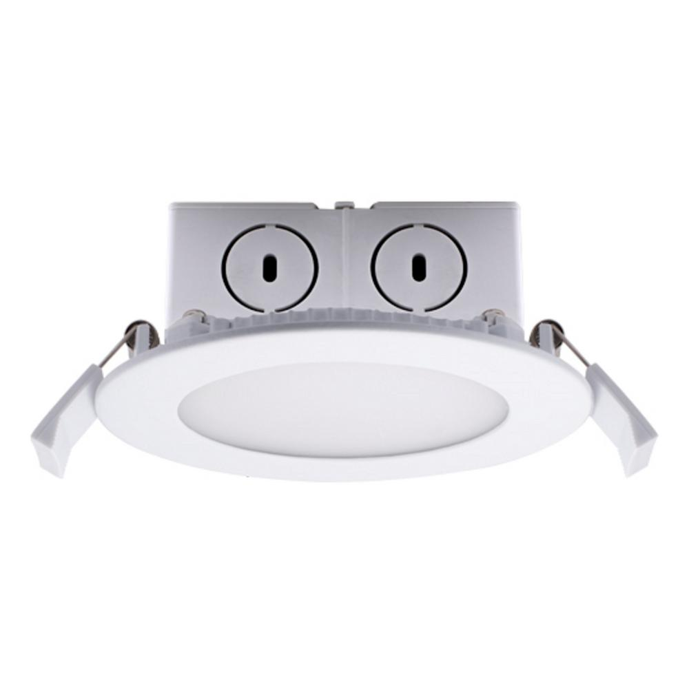 Bulbrite 4 in. Soft White Light New Construction or Remodel IC Rated Recessed Integrated LED Kit with J-Box LED Flat Downlight
