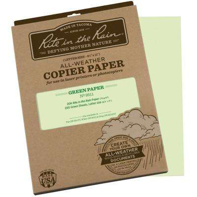 All-Weather 8-1/2 in. x 11 in. 20 lbs. Copier Paper, Green (200-Sheet Pack)