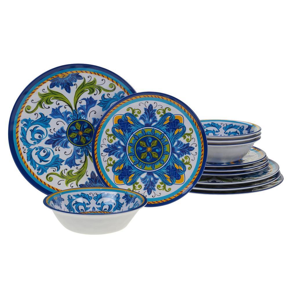 Lucca 12-Piece Casual Multicolor Melamine Outdoor Dinnerware Set (Service for 4)