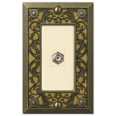 Filigree 1 Gang Coax Metal Wall Plate - Antique Brass