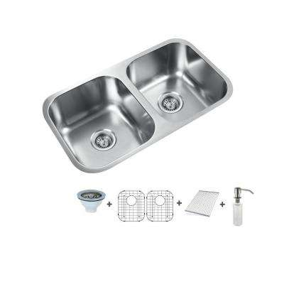 32 in. Undermount Stainless Steel 50/50 Double Bowl Kitchen Sink