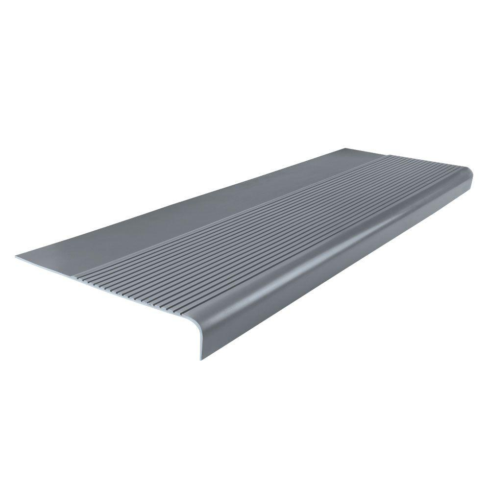 ROPPE Ribbed Profile Dark Gray 12 1/4 In. X 36 In. Round Nose Stair  Tread 36813P150   The Home Depot