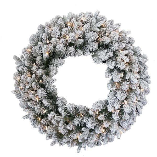 24 in. Feel Real Iceland Fir Wreath with 50-Warm White Battery Operated LED Lights