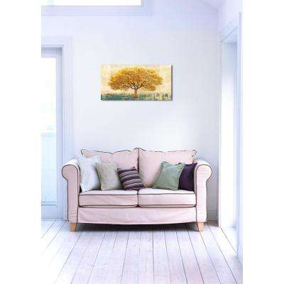 24 in. H x 48 in. W 'SAI - Golden Leaves' by Oliver Gal Framed Canvas Wall Art