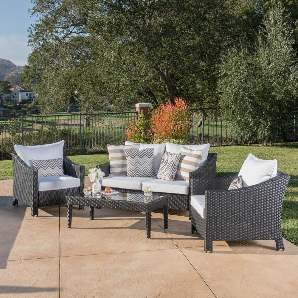 Noble House 4-Piece Wicker Patio Conversation Set with White Cushions