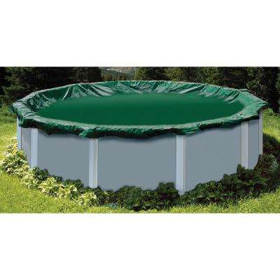 37 ft. x 37 ft. Round Green Above Ground Ripstopper Winter Pool Cover