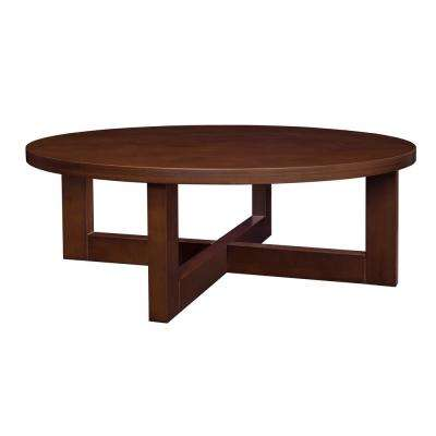 Chloe 37 in. Mocha Walnut Round Coffee Table