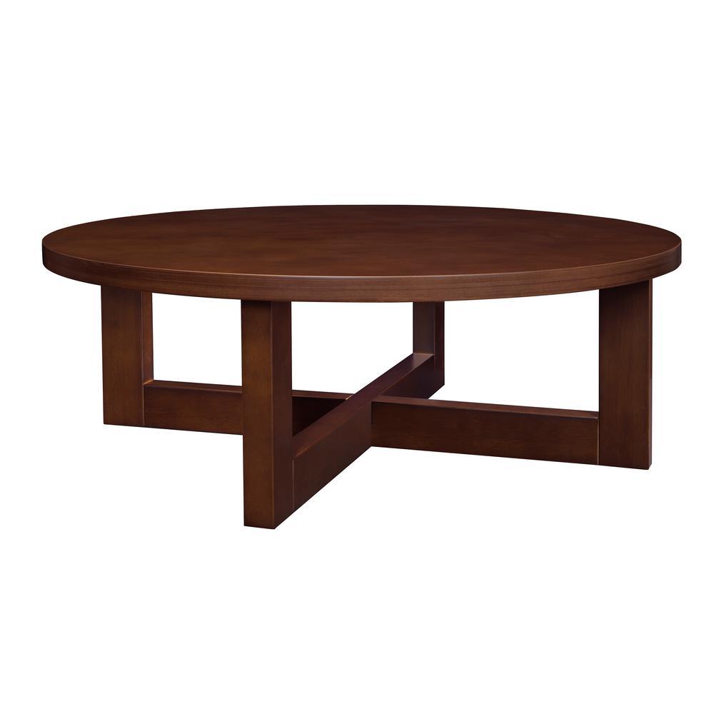 Mocha Walnut Round Coffee Table