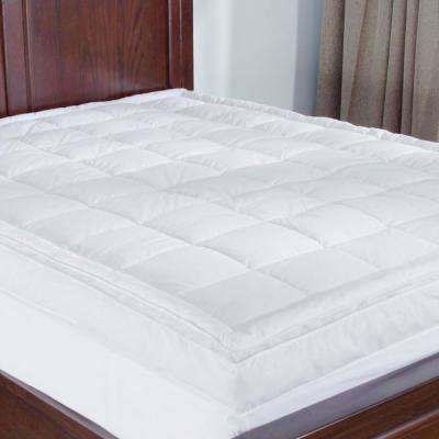Premium Goose Down Mattress Pad Bed Topper, 75% Feather/25% Down White, Queen Size