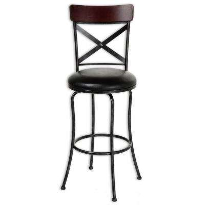 30 in. Austin Metal Black Bar Stool with Upholstered Swivel-Seat and Fleck Frame