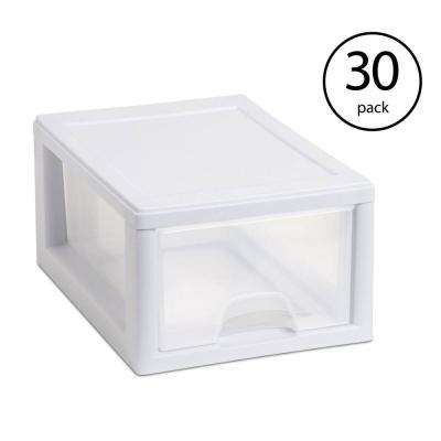 8.5 in. W x 5.75 in. H White Stackable Small 1-Drawer Frame and See-Through (30-Pack)