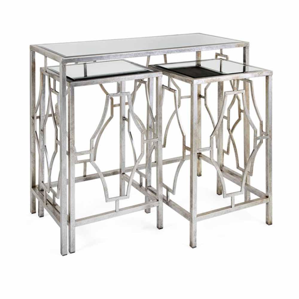 Armando Silver Mirror Tables (Set of 3)