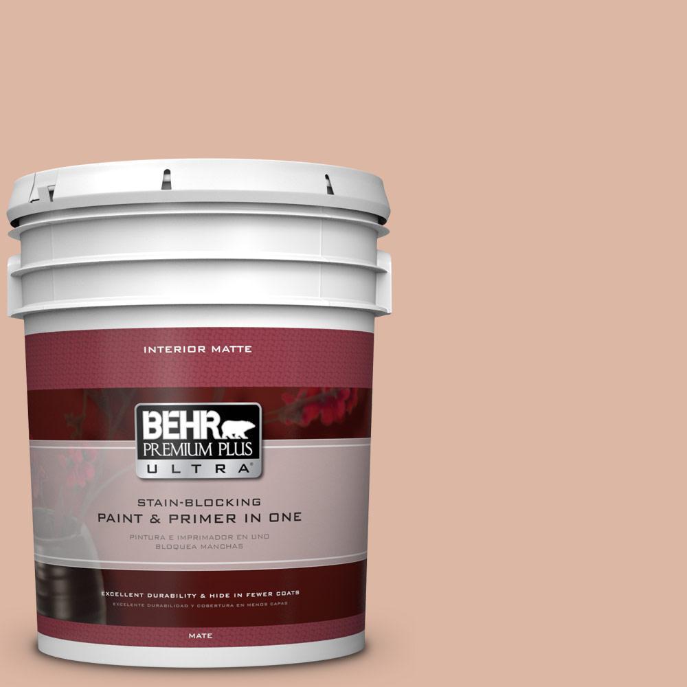 BEHR Premium Plus Ultra 5 gal. #ECC-60-1 Coral Bay Flat/Matte Interior Paint