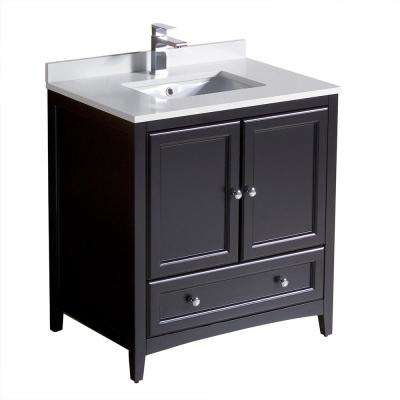 Oxford 30 in. Bath Vanity in Espresso with Quartz Stone Vanity Top in White with White Basin