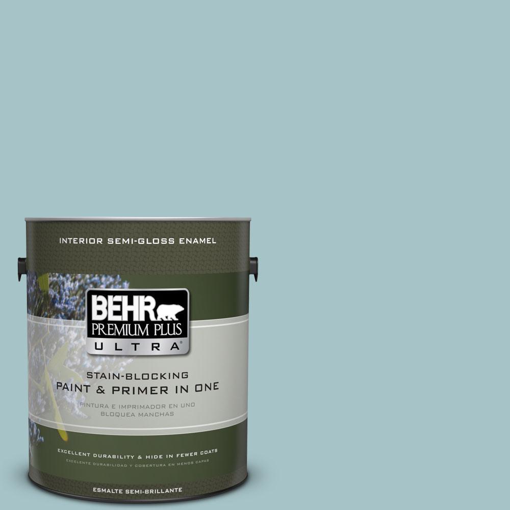 BEHR Premium Plus Ultra 1-gal. #510E-3 Ocean Kiss Semi-Gloss Enamel Interior Paint