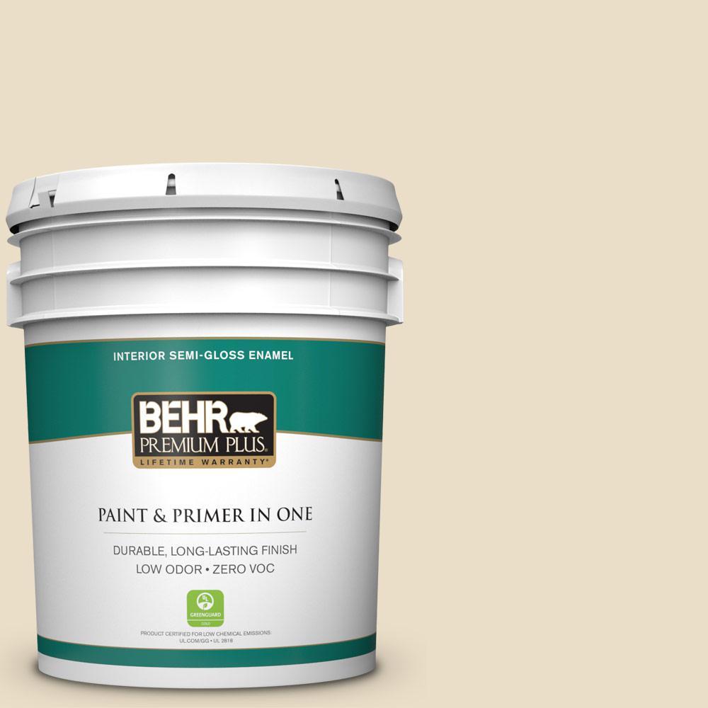 BEHR Premium Plus 5-gal. #710C-2 Raffia Cream Zero VOC Semi-Gloss Enamel Interior Paint