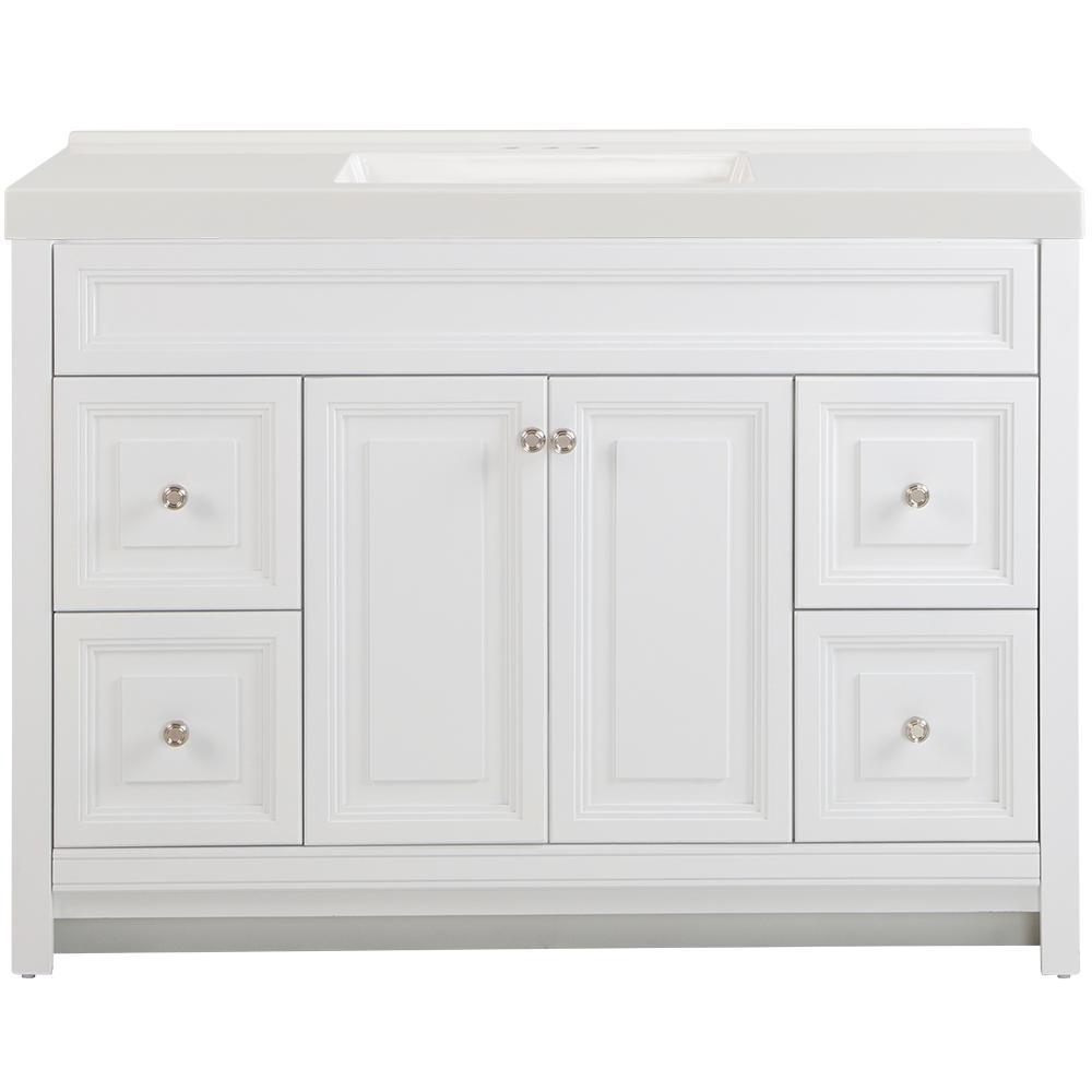 Brinkhill 49 in. W x 22 in. D Bath Vanity in White with Cultured Marble Vanity Top in White with White Sink