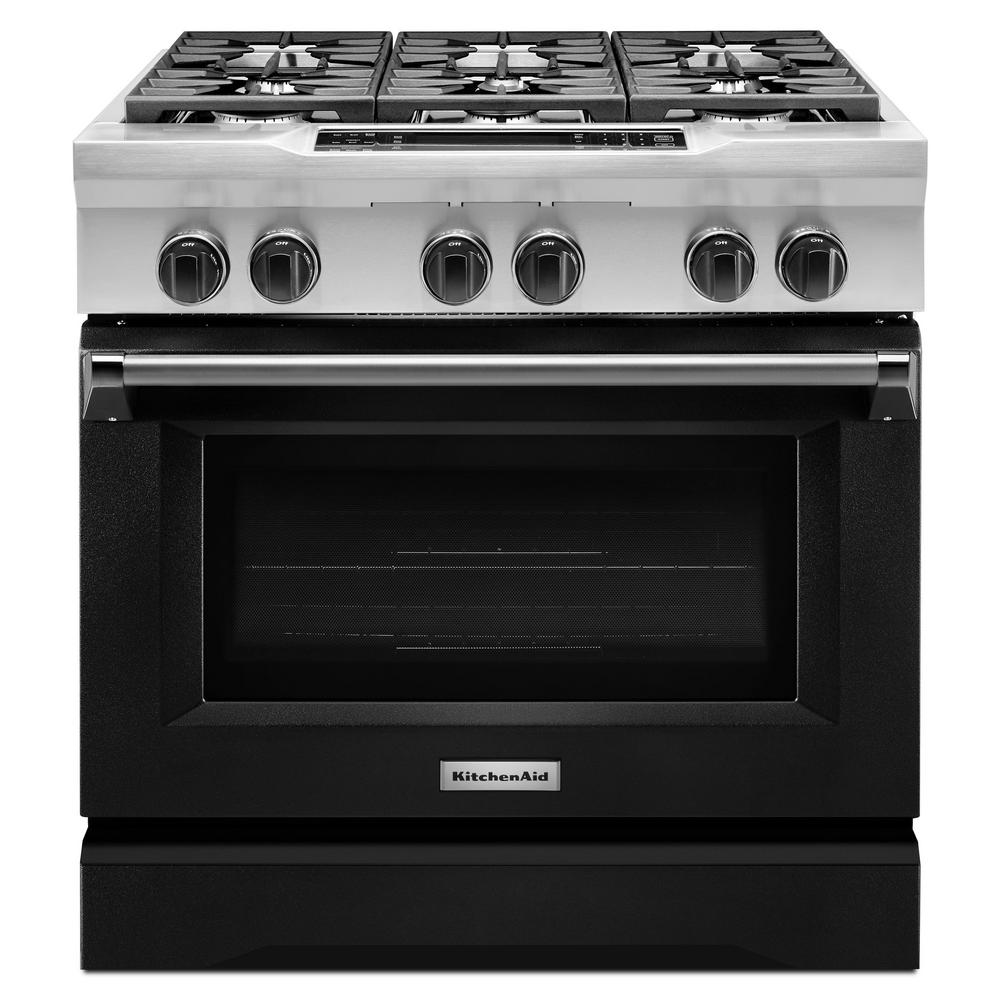 kitchenaid 36 in 5 1 cu ft dual fuel range with convection oven
