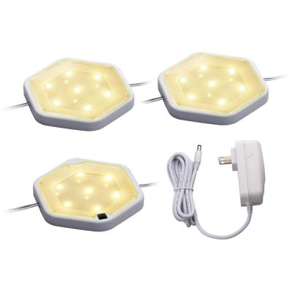 LED Warm White Puck Light Kit (3-Pack)