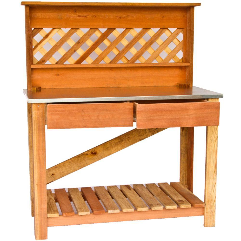 Hollis Wood Products 46 in. x 22 in. Redwood Deluxe Potting Table-DISCONTINUED