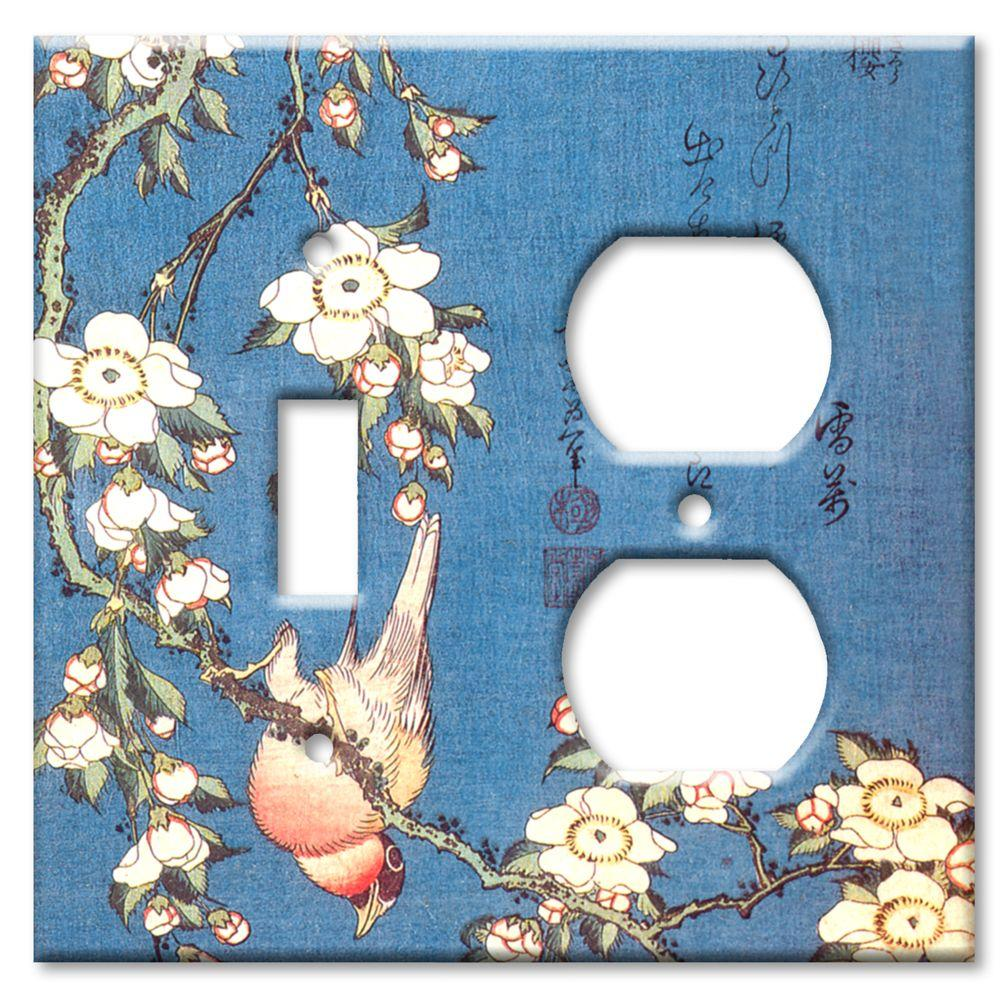 Art Plates Hokusai Weeping Cherry and Bullfinch Switch/Outlet Combo Wall Plate
