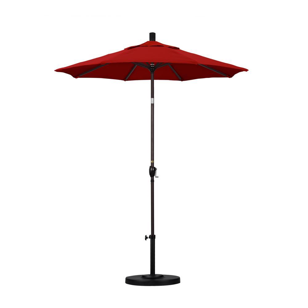 6 ft. Bronze Aluminum Pole Market Aluminum Ribs Push Tilt Crank Lift Patio Umbrella in Jockey Red Sunbrella