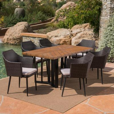 Zander Multi-Brown 7-Piece Wicker Outdoor Dining Set with Cream Cushions