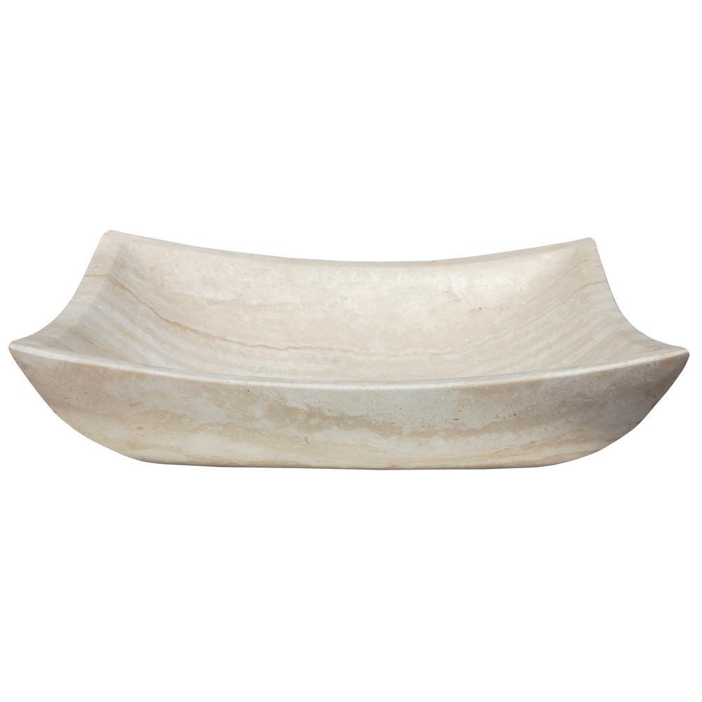 Deep Zen Sink in Honed White Travertine