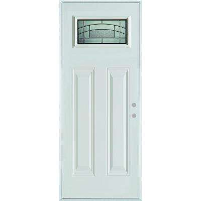 36 in. x 80 in. Chatham Patina Rectangular 1 Lite 2-Panel Painted White Left-Hand Decorative Steel Prehung Front Door