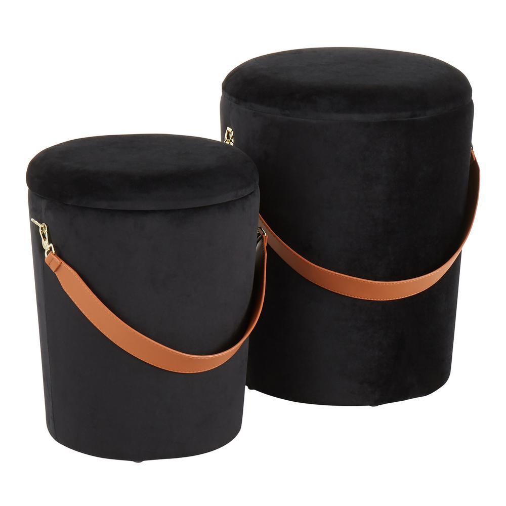 Nesting Strap Black Velvet Ottoman Set