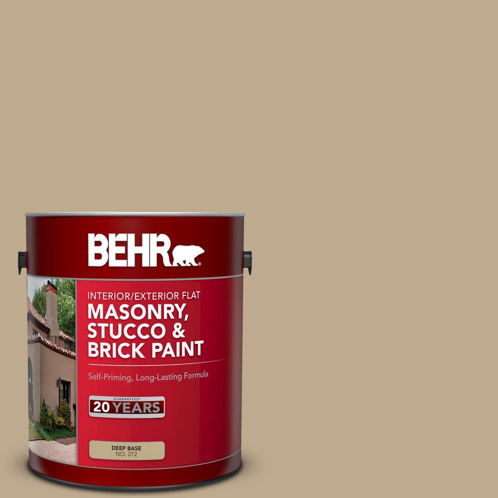 1 gal. #MS-44 Autumn Tan Flat Interior/Exterior Masonry, Stucco and Brick Paint