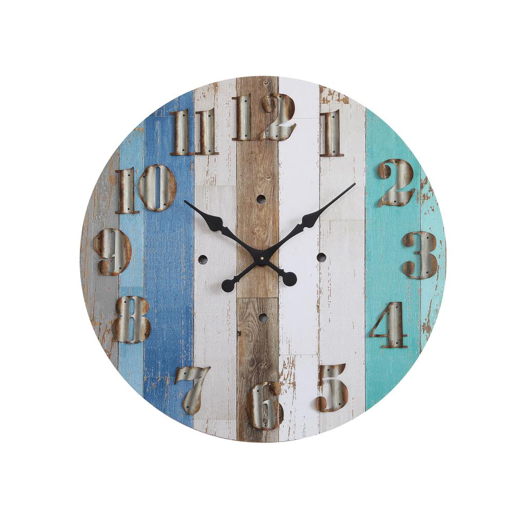 3r studios multi color striped wood wall clock da5834 the home depot 3r studios multi color striped wood wall clock amipublicfo Image collections