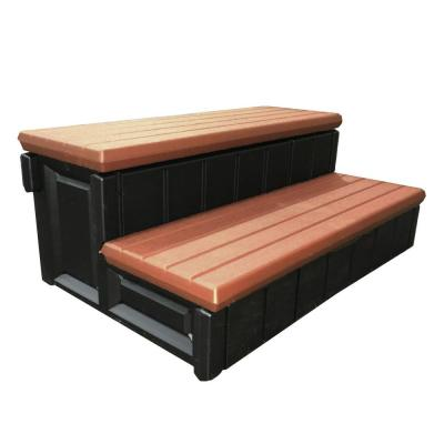 Leisure Accents 36 in. Deluxe Deck Patio Spa Hot Tub Steps, Redwood
