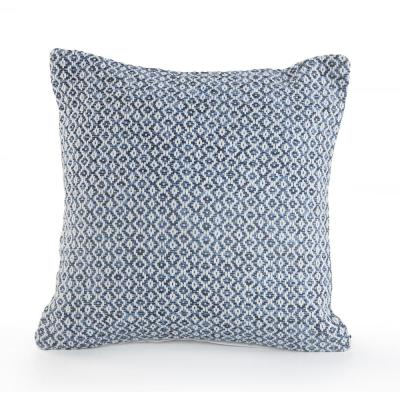 Petite Diamond Navy and White Geometric Hypoallergenic Polyester 18 in. x 18 in. Throw Pillow