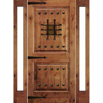 70 in. x 80 in. Mediterranean Knotty Alder Sq-Top Unfinished Left-Hand Inswing Prehung Front Door with Full Sidelites