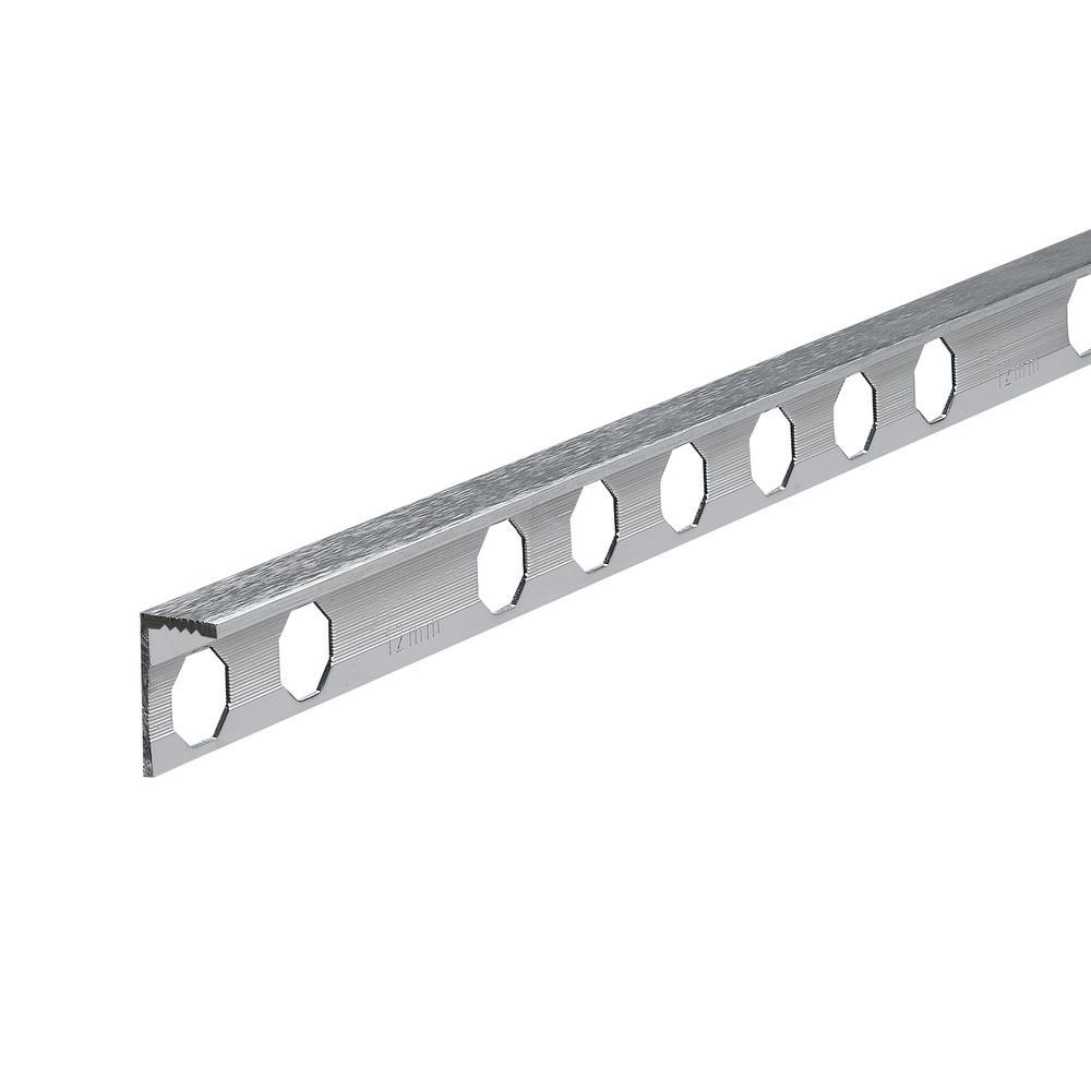 Novosuelo Brushed Metal 1/2 in. x 98-1/2 in. Aluminum Tile Edging Trim