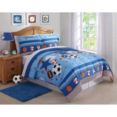 Sports and Stars Blue Queen Comforter Set