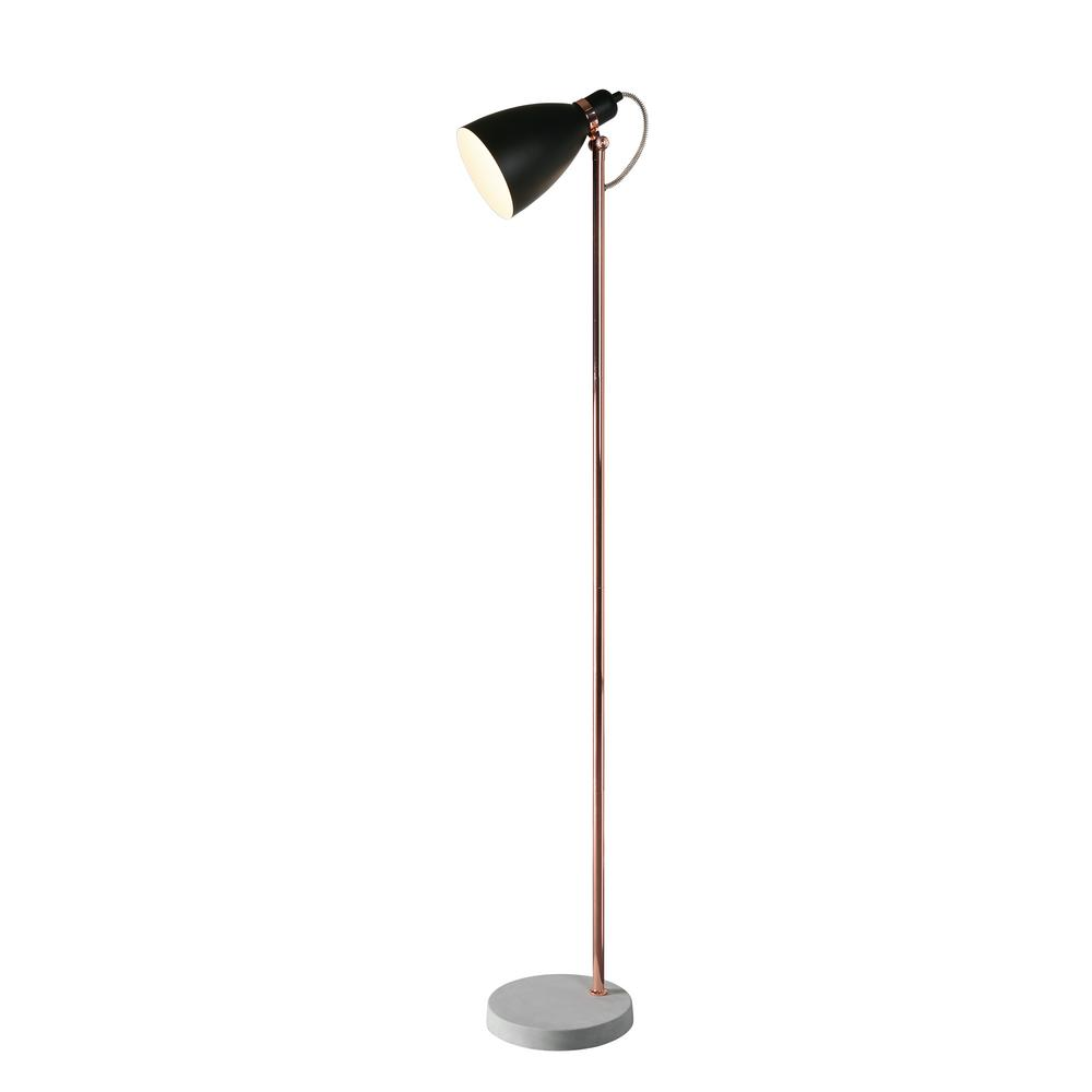 Kenroy Home Gabriel 59 In Black And Copper Floor Lamp With Steel