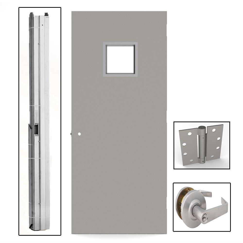 L i f industries 36 in x 84 in gray flush steel vision for Steel home entry doors
