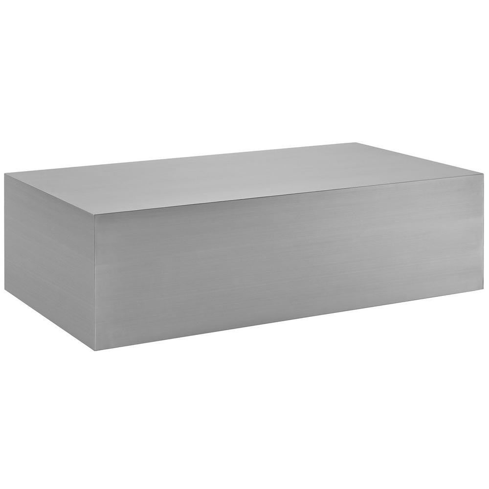 Stainless Steel Coffee Table: MODWAY Silver Cast Stainless Steel Coffee Table-EEI-2098