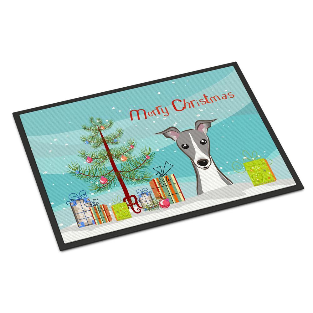 18 in. x 27 in. Indoor/Outdoor Christmas Tree and Italian Greyhound Door Mat