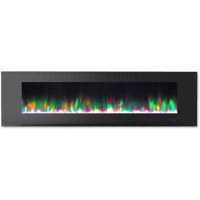 72 in. Wall-Mount Electric Fireplace in Black with Multi-Color Flames and Crystal Rock Display