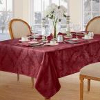 60 in. W x 120 in. L Burgundy Elrene Barcelona Damask Fabric Tablecloth